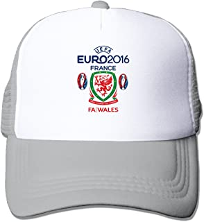 Fashion Euro 2016 Wales National Football Team Logo2 Adult Nylon Adjustable Mesh Hat Trucker Cap Ash One Size Fits Most