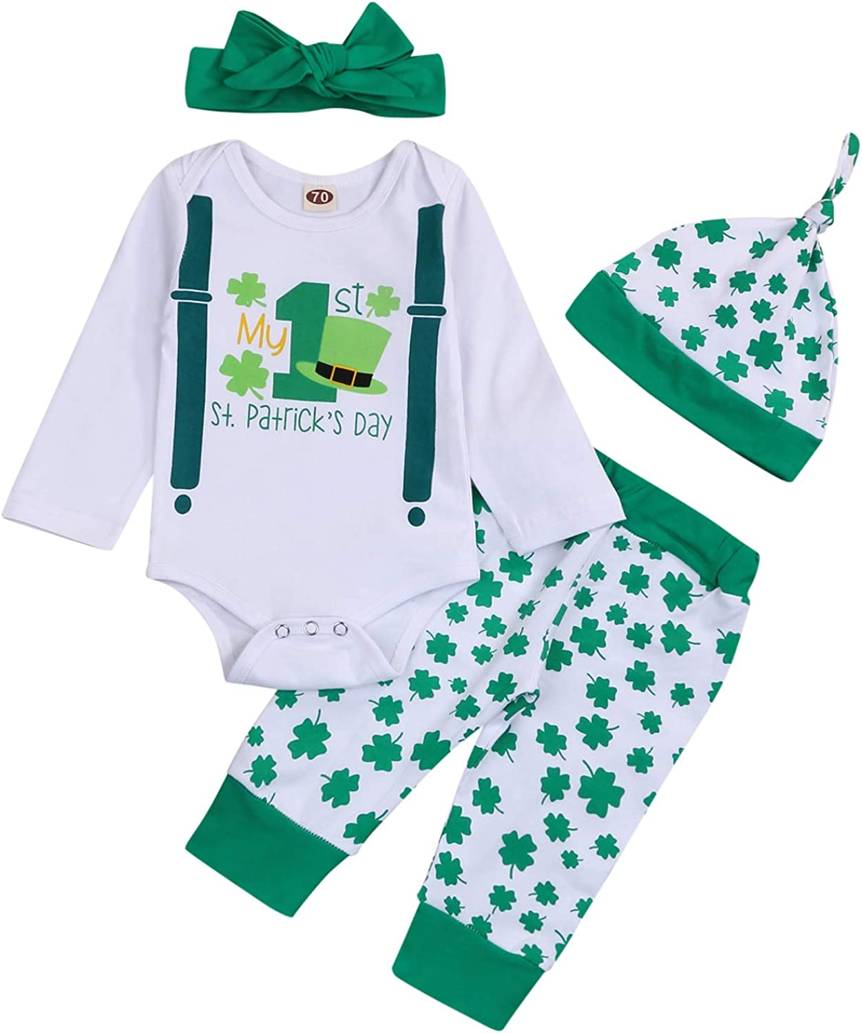 Newborn Baby Boy My First St.Patrick's Day Outfits Green Romper Four-Leaf Clover Pants Hat Headband Clothes Set (White