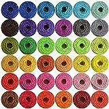 36 rollos de cuerda de yute natural de 2 hilos, 330 metros en total, 2 mm de grosor, cuerda para floristería, regalos, manualidades, decoración, ramos, jardín y reciclaje (colores variados)