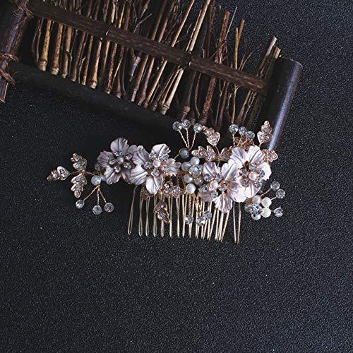 ASDAHSFGMN Accessoires Cheveux de mariée mariée Main Peigne Mariage Accessoires Cheveux Feuille Fleur Cheveux Clip Coiffe (Metal Color : Blue Zinc Plated)