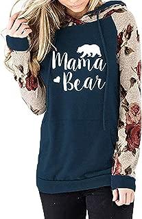 Womens Long Sleeve Shirts Letter Print Mama Bear Sweatshirts Hoodies for Mom