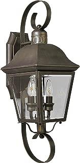 Progress Lighting P5688-20 2-Light Andover Medium Wall Lantern with Solid Brass Construction, Antique Bronze