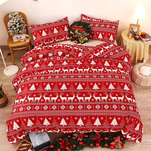 LAMEJOR Christmas Duvet Cover Set Twin Size Deers/Christmas Trees and White Snowflake Holiday Style Luxury Soft Bedding Set Comforter Cover Red