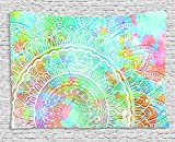 Bless International Indian Hippie Bohemian Wall Hanging Bedding Polyester Tapestry (Pastel Mandala) (84x54 Inches) (215x140 cm)