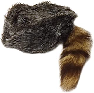 Nekid Cow USA Authentic Davy Crockett Daniel Boone Real Tail Cap Hat Large