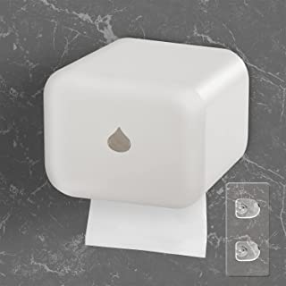 JEEZAO Distributeur de Papier Toilette Étanche Porte-Papier Rouleau Hygiénique Mural sans Perçage Auto-adhésif avec Tige p...