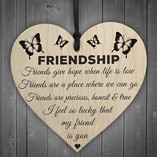 RED OCEAN I'm Lucky My Friend Is You Wooden Hanging Heart Friendship Gift...
