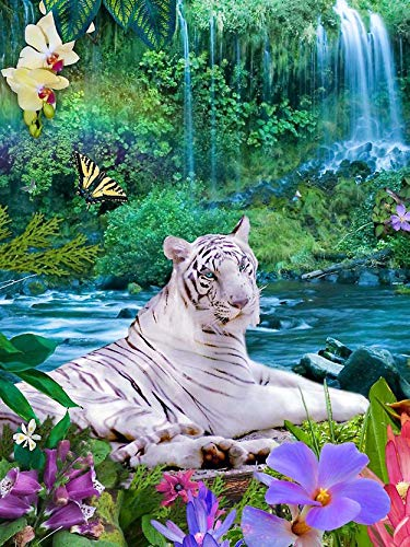 Cuneai DIY 5D Diamond Painting Animal Tiger by Number Kit, Round Diamond Art Crystal Embroidery Cross Stitch Tool, for Home Wall Decoration Gifts Handicrafts 30x40cm / 12x16inch