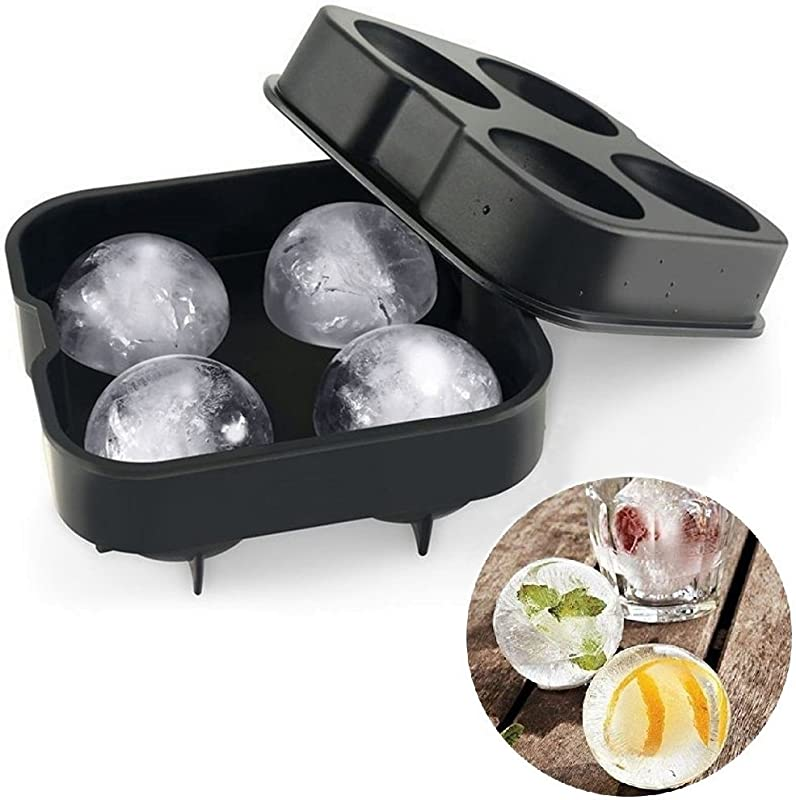 Well Wares Ice Ball Maker Silicone Mold 4 Large Sphere Round Ball Ice Cube Drink Party Ice Tray Freeze Mold Kitchen Tools