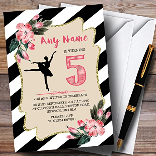 Kinderen Party Uitnodigingen Zwart & Wit Bloemen Ballerina Ballet Kinderen Verjaardag Party Uitnodigingen Met Enveloppen - Elke Aangepaste Tekst Voor Elke gelegenheid 30 Cards & Envelopes Zwart/Wit