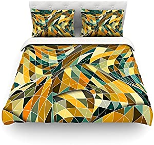 "Kess InHouse Danny Ivan ""Bring You Back"" Yellow Teal Twin Cotton Duvet Cover, 68 by 88-Inch"