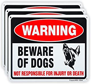 "3 Pack Beware of Dog Sign, 10""x 7"" .04"" Aluminum Sign Rust Free Aluminum-UV Protected and Weatherproof"