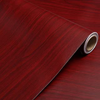 Self Adhesive Vinyl Mahogany Wood Contact Paper for Kitchen Cabinets Shelves Drawer Cupboard Counter Top Table Desk Furniture Door Wall Decal Sticker (TF-1, 15.7