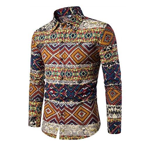 Blumen Hemden Herren Bunte Hemden Langarmhemd Muster Paisley Freizeitshemd Langarm Casual Shirt