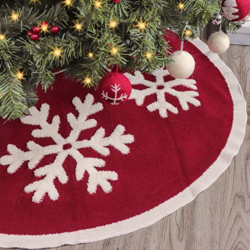 LimBridge Knitted Christmas Tree Skirt, 48 Inches Knitted Christmas Decorations, Wine Red Heavy Yarn Xmas Holiday Decoration with White Snowflakes, Burgundy and Cream