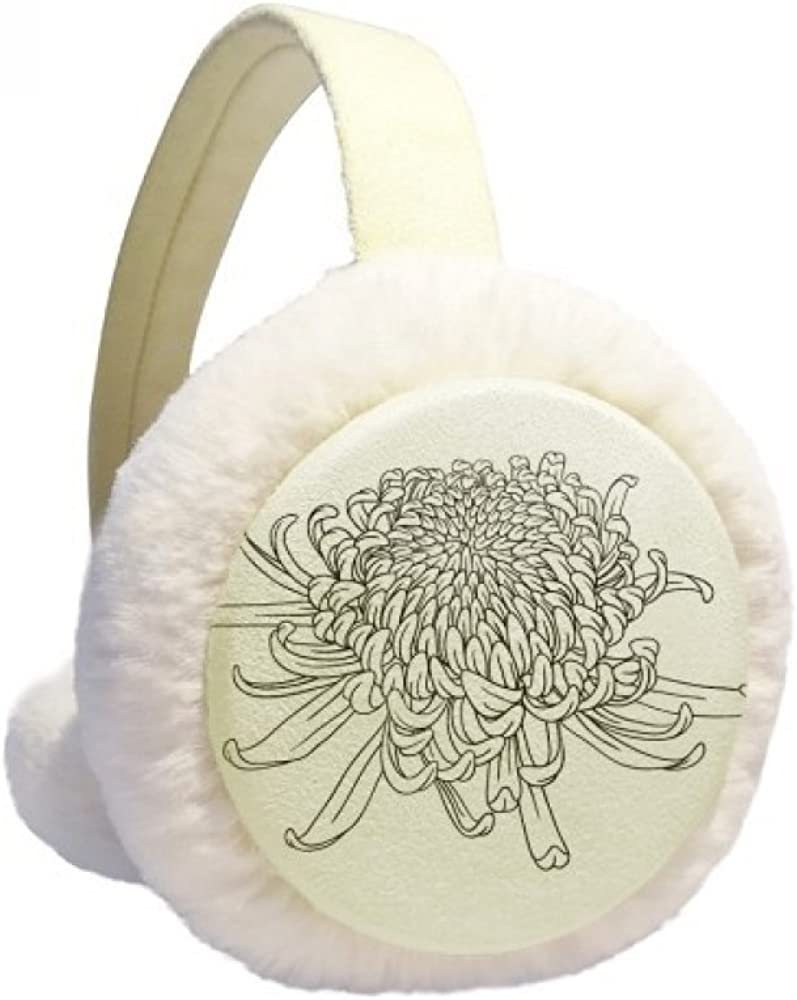 Chrysanthemum Outline Special sale item Plant Flower Winter Cable Knit Over item handling Warmer Ear