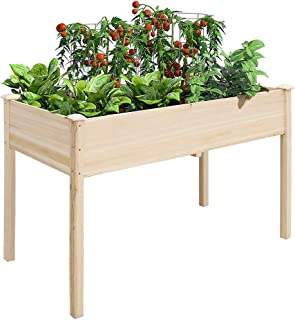 UNHO Wooden Garden Planters, Garden Raised Beds Planter Outdoor Plant Container Rectangle Plants Vegetables Flowers Planti...