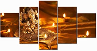 WSJXY 5 Canvas Paintings Framed Modern Canvas Wall Art Pictures HD Prints Poster 5 Pieces Lord Ganesha Diwali Paintings for Living Room Decor