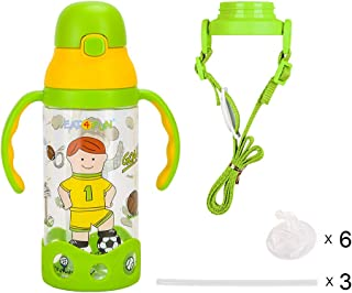 Eat4Fun Kids and Toddler Water Bottle Set with Extra Straw Gift Bundle (Athletic)