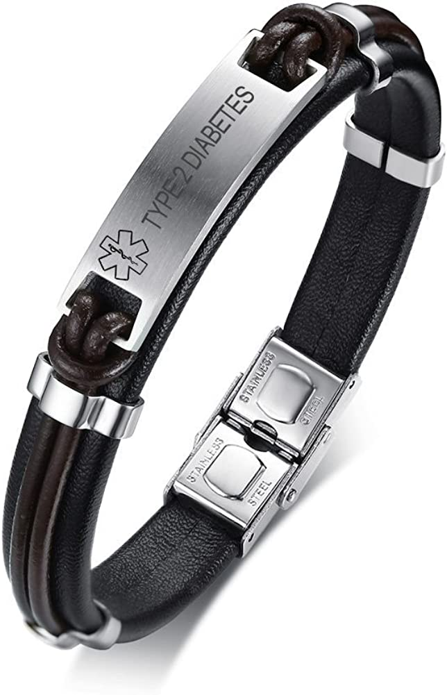 Bombing free shipping VNOX Medical Alert Fees free!! ID Handmade Leather Braided Genuine Stainless
