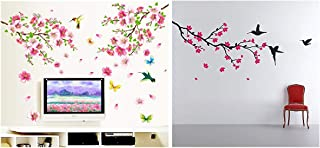 Decals Design 'Flowers Branch' Wall Sticker (PVC Vinyl, 60 cm x 90 cm),Multicolor & 'Humming Birds and Blossoms' Wall Stic...