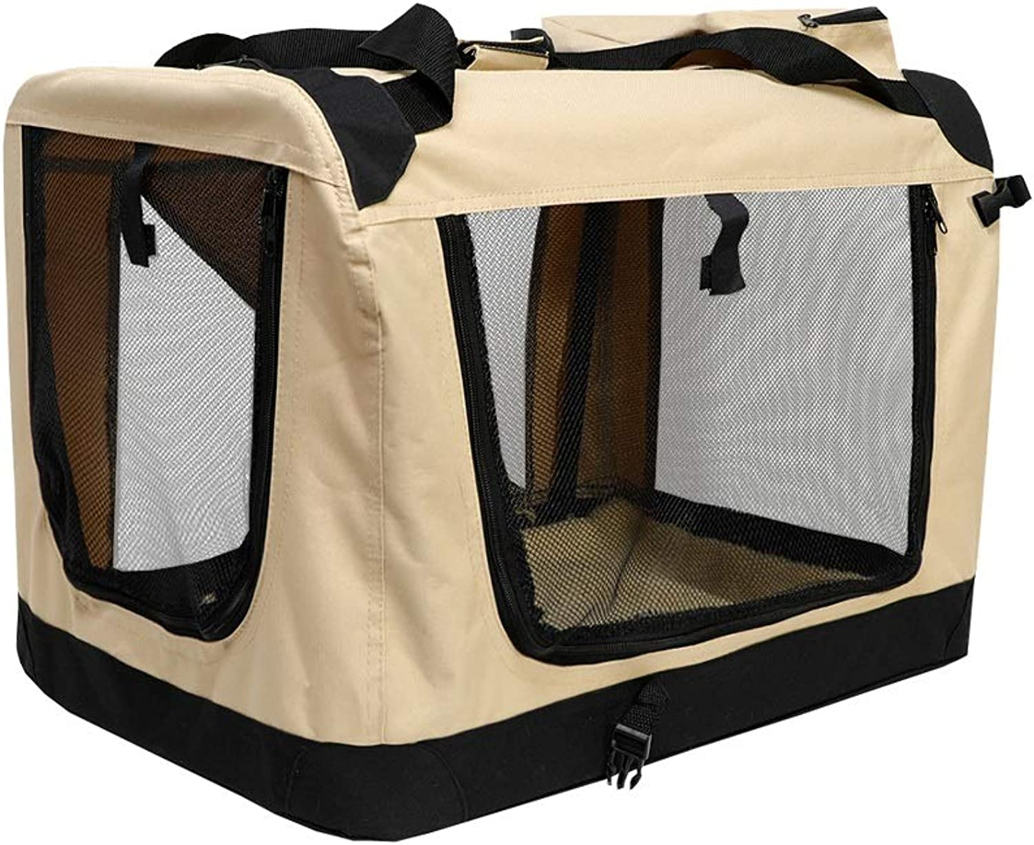 JIANXIN Pet Car Seat, Car Kennel, Out Carrying Case, Dog Tent, Foldable (four colors, Four Sizes) (color   Beige, Size   S)