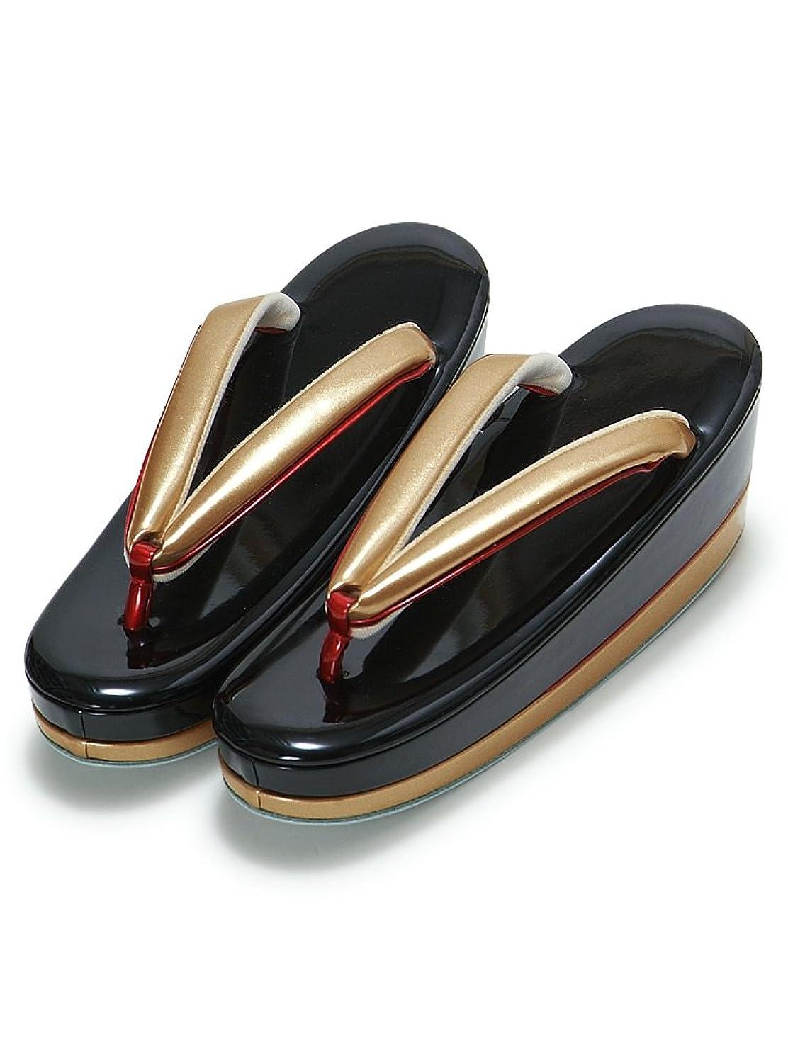 一晩不幸具体的に[ 京都きもの町 ] Mサイズ 草履単品 黒色×金色