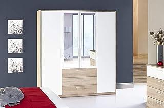 Marque Amazon -Movian - Armoire avec miroir Minho, 187 x 206 x 62cm, Chêne Sanremo