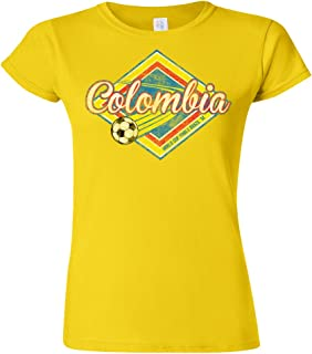 Colombia Football World Cup Ladies Camiseta Para Mujer Retro Soccer T-Shirt