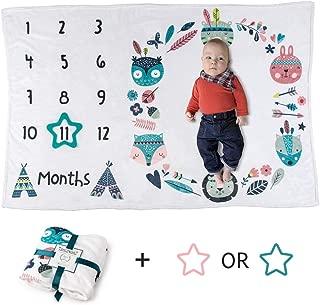 Baby Monthly Milestone Blanket | Woodland Animals Tribal Boho | Boy or Girl | Luxurious Soft Fleece | Large (Includes Turquoise Star Felt Frame)