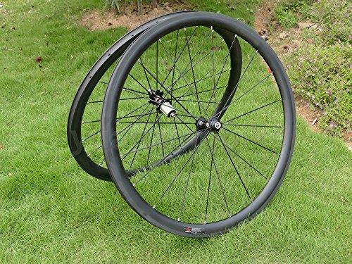 In carbonio UD, per bici da strada in Clincher a cerchio, 38 mm, colore: grigio basalto freno lato Pennello in fibra di carbonio, larghezza: 25 mm-Set di ruote per Shimano 8/9/10/11s
