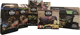 Backyard BBQ Masters 9 Piece Bundle- Rib Rack, Grill Pan, Grill Basket, Long Brush, Triple Cleaning Brush, Meat Claws, Smoke Box, Hickory Wood Chips, Mesquite Wood Chips