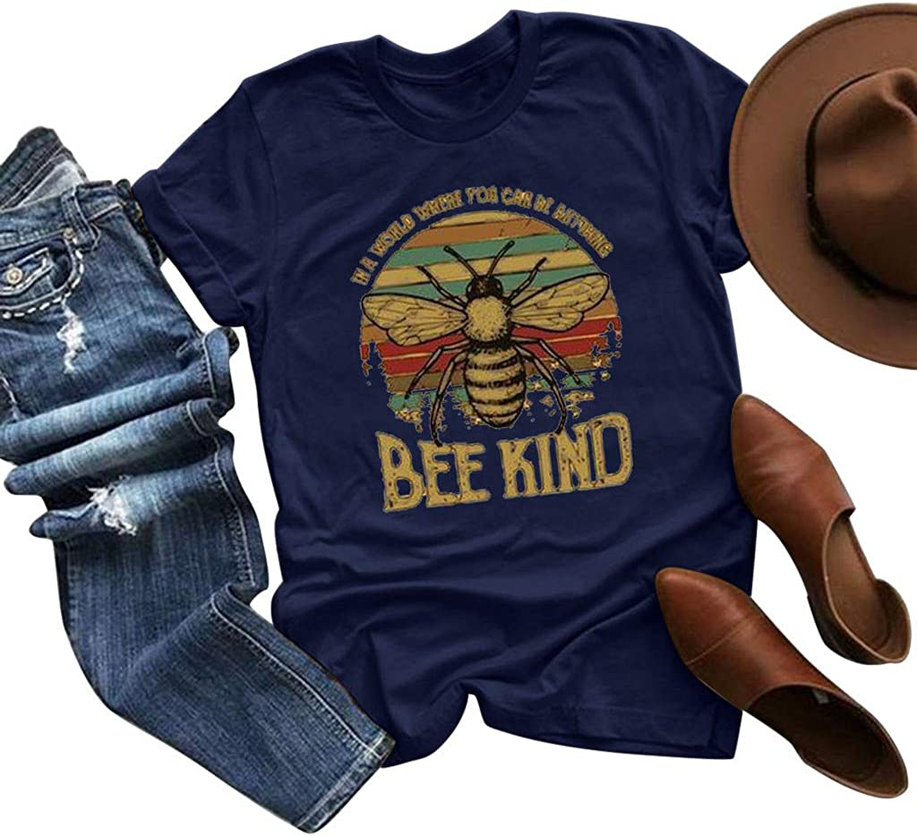 AODONG Summer Shirts for Women Women's Bee Printed Crewneck Tee Shirt Casual Loose Short Sleeve Graphic T-Shirt Tops