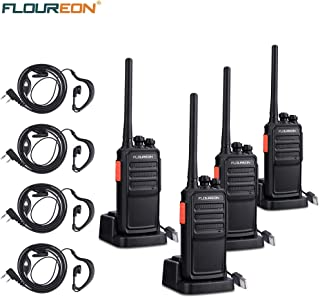Walkie Talkies 4 Pack FLOUREON Rechargeable Two Way Radios Long Range Distance with Earpiece and Li-ion Battery USB Charger UHF 400-480MHz 16 Channel Handheld Interphone(Black, 2 Pair)