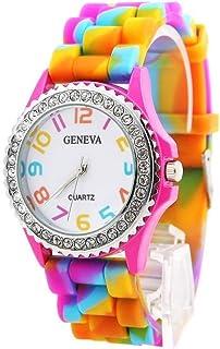 JewelTime Geneva Rainbow Crystal Rhinestone Watch Silicone Jelly Link Band