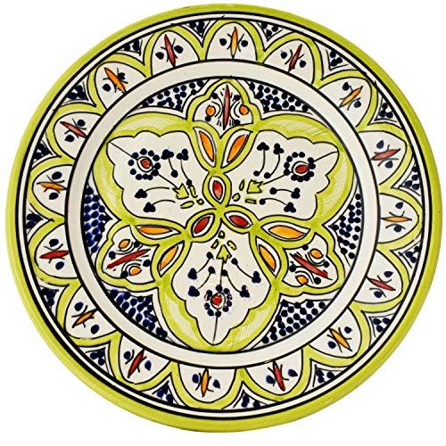Oosterse keramische schaal keramische schaal agraf groen 25cm groot   gekleurde Marokkaanse keramische schaal bord rond uit Marokko   Orient grote keramische schaal plat servies oosters met de hand geschilderd