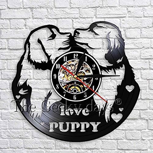 LED-Love puppy vinyl record wall clock modern design watch children's room wall decoration dog 3D wall clock puppy animal