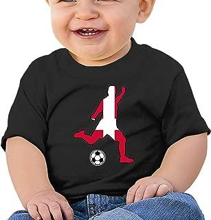 Denmark Flag Soccer Player Toddler Baby Girl Boy Round Neck Short Sleeve T-Shirt Tops Tee Clothes
