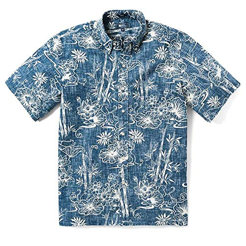 Reyn Spooner Men's Chinese New Spooner Kloth Classic Fit Hawaiian Shirt, Year of The Rat - Dress Blues, L
