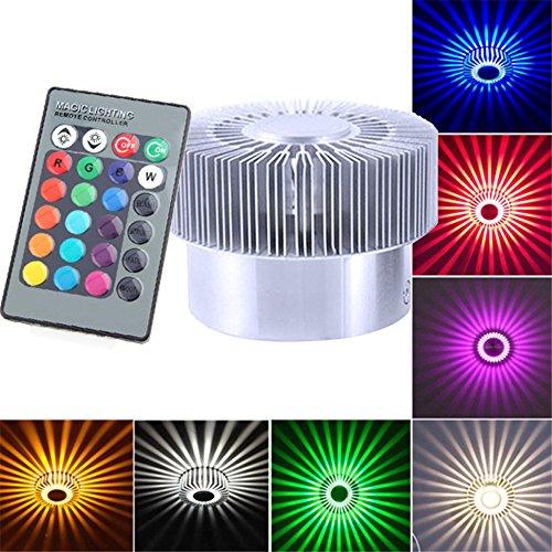 FeiliandaJJ LED Wandleuchte RGB Sonne Blume 360 Grad Hohlzylinder Bunte Lampe für Wohnzimmer Schlafzimmer Treppenhaus Flur (Silber)