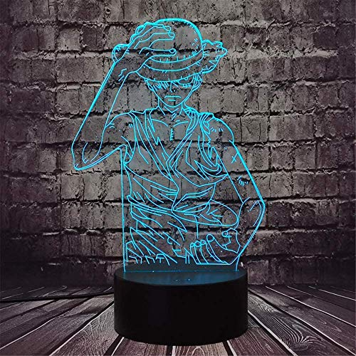 3D LED ilusión lámpara noche Luffy niños luz de la noche LED sensor táctil dormitorio decorativo regalo vacaciones para niña noche lámpara