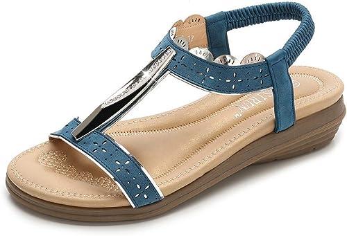 Vert Mode Sandales Femme Femme été Bohème Sandales Femme Métal Tête Ronde Chaussures De Femmes De Confortable (Couleur   Photo Couleur, Taille   39)  pratique
