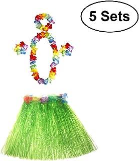 Tinksky 5 Hawaii Skirt 10 Bracelets 5 Necklace 5 Headwear, Hawaii Tropical Hula Grass Dance Skirt Flower Bracelets Headband Necklace Set 40cm - 5 Sets
