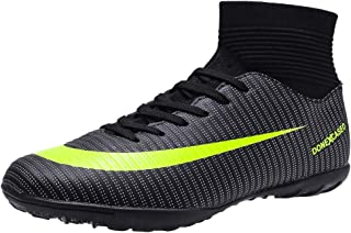 DoneXcaseo CR Indoor Soccer Shoes for Boys - Soccer Shoes High Tops Turf Outdoor - High Ankle Boots AG Ground Outdoor - Indoor Soccer Shoes High Tops Big Kids Black