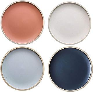 MDZF SWEET HOME 10.4-Inch Porcelain Dinner Plates Set Pizza Pasta Serving Plates Matte Glaze Dessert Dishes Set of 4