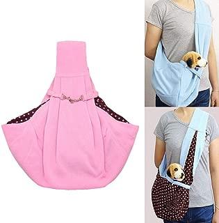 PAWACA Portable Pet Sling Carrier,Pure Color Dog Diagonal Shoulder Bag,Hands Free Reversible Cotton Pet Bag Outdoor Travel Bag for Puppy,Medium Dogs and Cats
