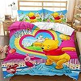 Amacigana Set di biancheria da letto per bambini in 3D, motivo Winnie The Pooh con copripiumino e federa 100% microfibra (A5, Double 200 x 200 cm/50 x 75 cm x 2)
