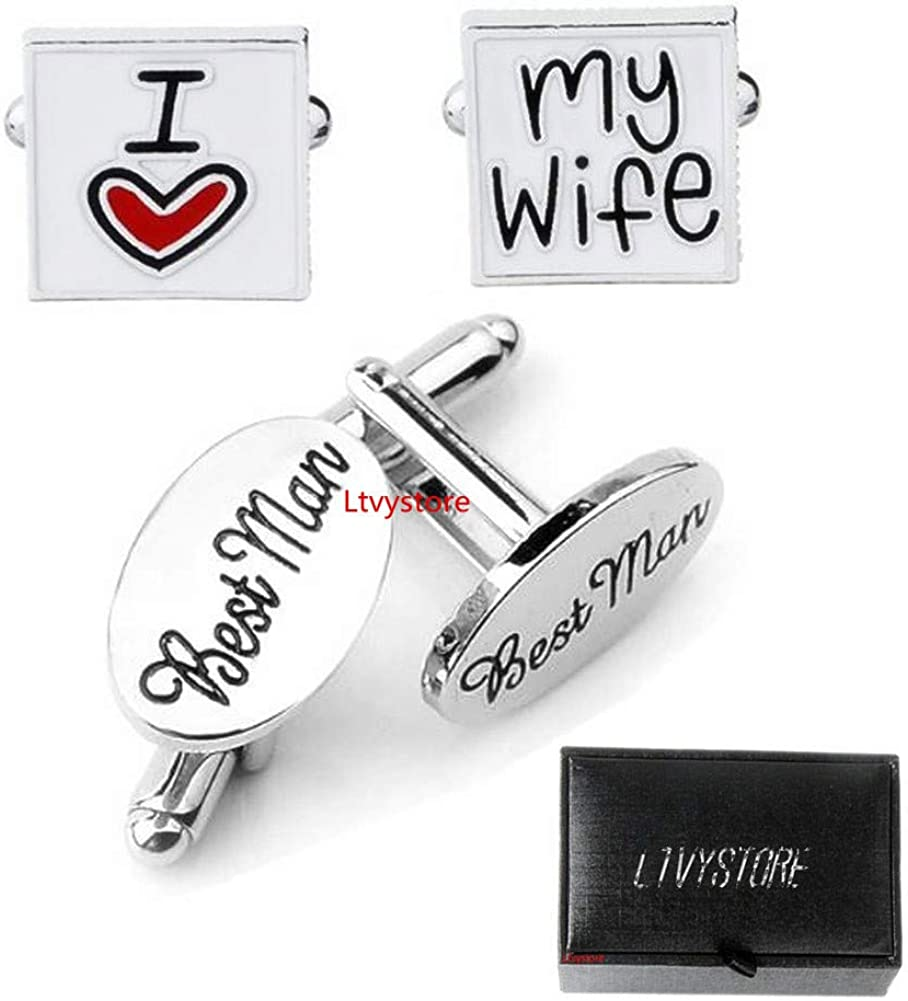 Ltvystore Square Cufflinks for Women Men Shirt, Fashion Letter Best Friends Forever & I Love You Jewelry Trendy Geometric Cuff Links Buttons with Box, Great Idea for Thanksgiving/Christmas