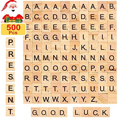 Jogoi Scrabble Buchstaben Holz 500 Stück Scrabble Buchstaben zum Spielen Buchstaben Scrabblesteine aus Holz Scrabble