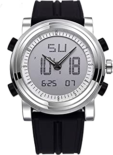Hombre analógico digital Relojes escolar Reloj Deportivo reloj digital LED multifunción reloj con alarma cronómetro pulsera de silicona negro plata